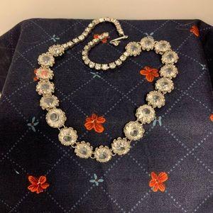 Vintage Clear Glass Rhinestone Chocker Necklace